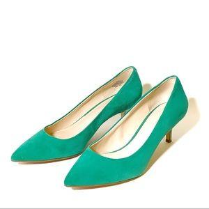 Green Suede Nine West Kitten Heel